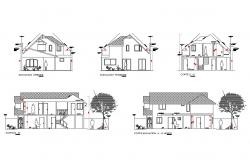 One family residential house elevation and section details dwg file