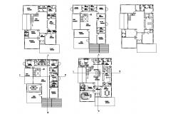 One family residential house floor plan cad drawing details dwg file