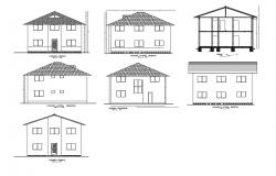 One family small house elevation and section details dwg file