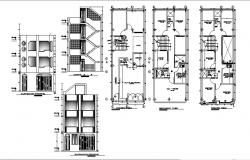 One family three level house detailed architecture project dwg file