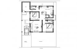 One family two bedroom house layout plan cad drawing details dwg file