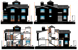 One family two level house elevation and sectional details dwg file