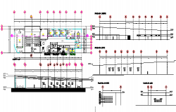 One story administration office elevation, section and layout plan details dwg file
