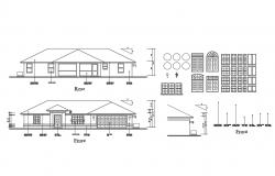 One story house front and rear elevation and doors and windows details dwg file
