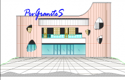 One story showroom front 2d elevation view dwg file