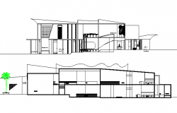 Open air music and night club house elevation and sectional details dwg file
