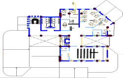 Open space office layout view dwg file