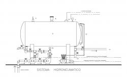 Operation details of hydro-pneumatic tank cad drawing details dwg file