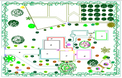 Outdoor Garden of Single Family Bungalow Design dwg file