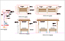 Outdoor wooden seating bench, roof structure information detail dwg file