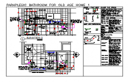PARAPLEGIC BATHROOM FOR OLD AGE HOME  SECTION DESIGN DRAWING