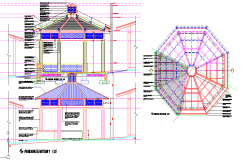 PAVILION  ROOF PLAN  & ELEVATION
