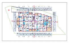 PLAN OF Hotel with Interior details Dwg file