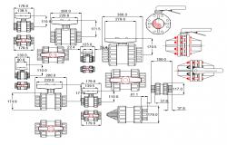 PVC ball valve plan detail dwg file.