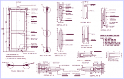 PVC door design with section view dwg file