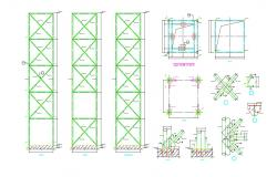 Pad Foundation Diagram And Column Bars Details AutoCAD File