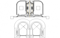 Panoramic elevator plant detail dwg file