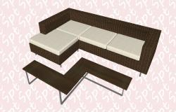 Para sofa exterior 3d block cad drawing details skp file