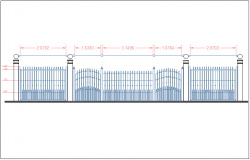 Park boundary fencing structure detail view dwg file