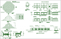 Park garden equipment detail view dwg file