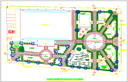 Park garden plan detail view with equipment detail dwg file
