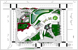 Park garden plan view detail dwg file