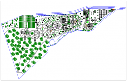 Park garden site plan layout view detail dwg file