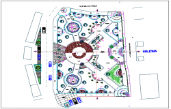 Park garden top view detail dwg file