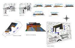 Parking and tunnel  structure detail 2d view CAD structural block layout file in dwg format