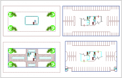 Parking building view in landscape view dwg file
