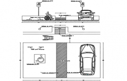 Parking disabilities plant section detail dwg file