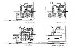 Parking floor, first floor and second floor plan details of maternity hospital dwg file