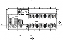 Parking plan of the office building with detail dimension in dwg file