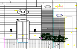 Partial Elevation and Section Detail of Entrance Gate dwg file