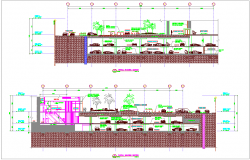 Partial building office sectional view dwg file
