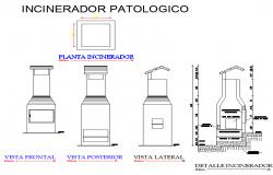 Pathological incinerdor plan and section detail dwg file