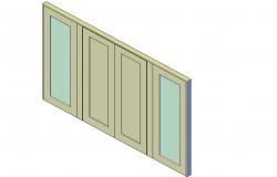 Patio double door plan detail dwg file.