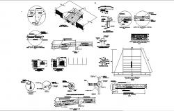 Pavement and landscaping construction details of industrial building dwg file