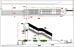 Pea-tonal Bridge Architecture Design and Elevation dwg file.