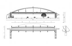 Pedestal bridge elevation and section cad drawing details dwg file