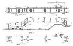 Pedestal foot bridge elevation, section and foundation plan details dwg file