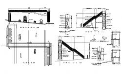 Pedestrian bridge section and constructive structure cad drawing details dwg file