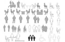 People Symbol Black And White DWG File
