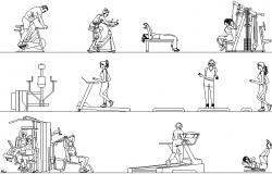 People at the gym detail dwg file