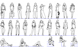 People girls detail dwg file