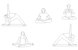 People practicing Yoga detail 2d view layout CAD blocks autocad file