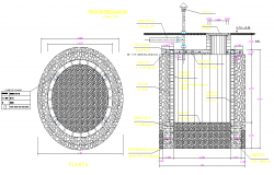 Percolation well plan and section dwg file