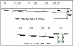 Perfil principal and perfil secundario elevation plan detail dwg file