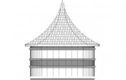 Pergola Design Side Elevation DWG File