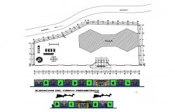 Perimeter fence and gate elevation, section and structure details dwg file